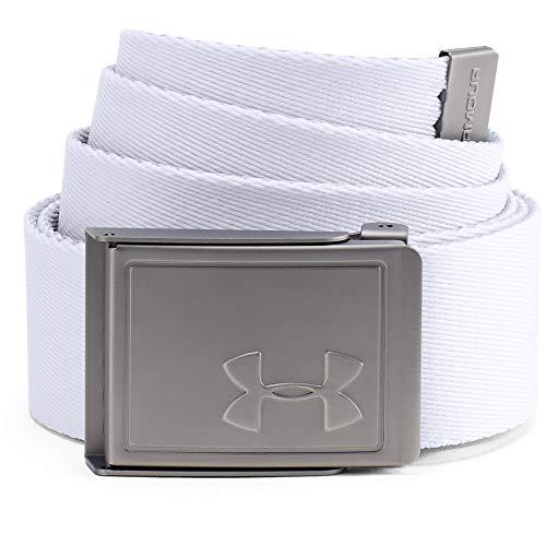 Under Armour, Men'S Webbing 2.0 Belt, Cintura, Uomo, Bianco (White/Academy/Silver 100), Taglia Unica