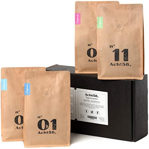 Probier-Paket von Acht58 – 4 x 250g feinste Kaffee- & Espresso-Bohnen – Perfektes Kaffee-Geschenk-Set – ganze Bohnen