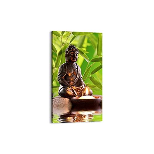 Cuadro sobre lienzo - Impresión de Imagen - Budismo Feng Shui Spa bambú - 65x120cm - Imagen Impresión - Cuadros Decoracion - Impresión en lienzo - Cuadros Modernos - Lienzo Decorativo - PA65x120-2392
