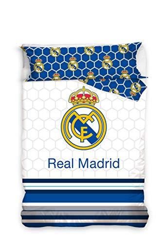 Real Madrid Juego de Cama 2 Pieza. Funda Nórdica + Funda de Almohada. Producto Oficial (150x220cm + 45x110cm) RM182058