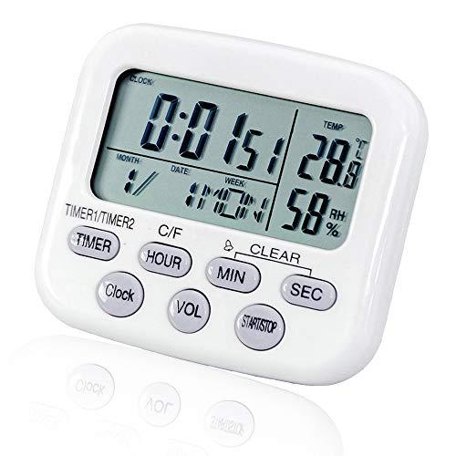 Generies Temporizador Digital multifunción para Cocina,Temporizador de 2 Canales con Reloj Despertador Temporizador,con función termómetro higrómetro,Mostrar Fecha,Cocina Nuevo Reloj