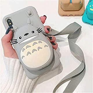 Cute Cartoon 3D Bear Wallet Phone Case for iPhone X XR XS Max 7 8 Plus Soft Silicone Cover for iPhone 8 7 6 6S Plus Back Capa (Totoro, for iPhone 6 6s Plus)