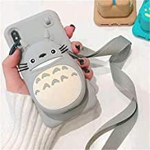 Cute Cartoon 3D Bear Wallet Phone Case for iPhone X XR XS Max 7 8 Plus Soft Silicone Cover for iPhone 8 7 6 6S Plus Back Capa (Totoro, for iPhone 7 8 Plus)