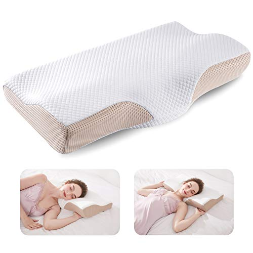 CosyTech Cervical Memory Foam Pillows for Sleeping, Neck Pillows for Pain Relief Sleeping, Ergonomic Orthopedic Contour Support Pillow - Back, Stomach, Side Sleeper Pillow, Correct Neck Pain