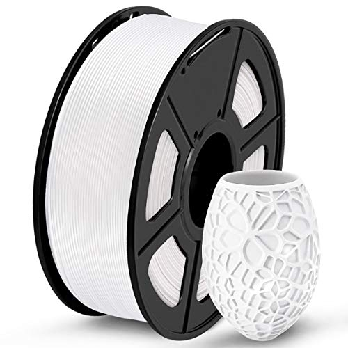 SUNLU PLA 3D Printer Filament, PLA Filament 1.75 mm Dimensional Accuracy +/- 0.02 mm, 1 KG Spool, PLA White