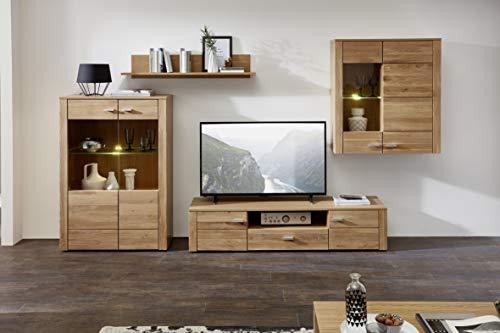 Stella Trading Anbauwand Wohnwand Wohnvorschlag Eiche, Holz, Braun, 42 x 328 x 184 cm
