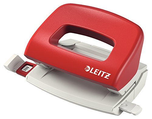 Leitz NeXXt Mini-Locher für das Büro, 10 Blatt, Anschlagschiene mit Formatangaben, Metall, Rot, 50580025