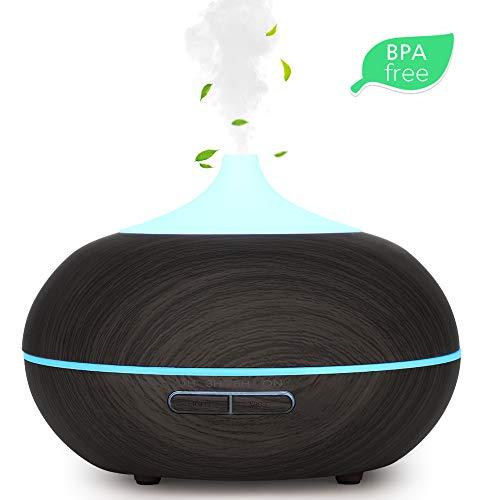 WD&CD Aroma Diffuser Luftbefeuchter 300ml Dunkelbraun, Ultraschall Vernebler Duftlampe Öle Diffusor mit 7 Farben LED Wasserlose Abschaltautomatik kompatibel für Schlafzimmer, Büro, Yoga, Spa
