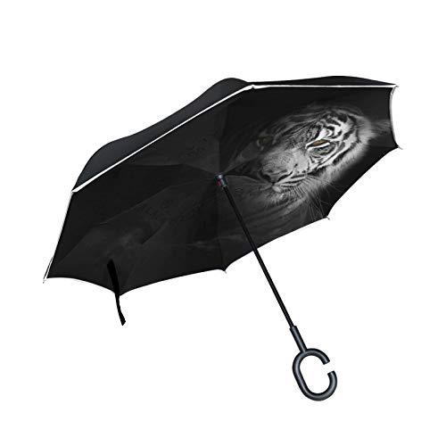 Tigre Blanco Negro Oscuro Paraguas Invertido Doble Capa Inverso Reverso con Mango en Forma de C Paraguas de Plegado para Automóviles en Exteriores