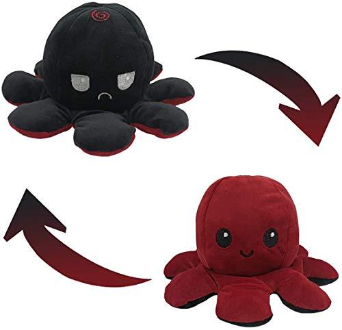 Peluche de Pulpo Reversible-Bonitos Juguetes de Peluche, muñeco de peluche juguetes creativos el Pulpo Reversible Original de Felpa Regalos de Juguete para niños (Rojo oscuro + Negro)