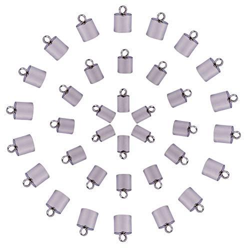 PandaHall Elite 60 Pcs Terminales de Cable de Acero Inoxidable 304, Conector de Pulsera Hecha a Mano, 9x4 mm, Agujero: 1 mm; Diámetro Interno de 3.5 mm