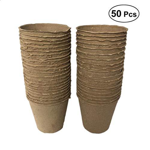 BESPORTBLE Paquete de 50 Macetas de Pulpa de Papel Macetas de Jardín Funcionales Biodegradables Macetas de Vivero Taza para Jardín