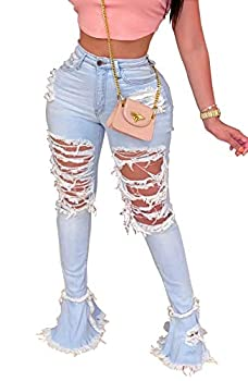 Women s Bell Bottom Jeans Destoryed Ripped Flare Jeans Elastic Waist Raw Hem Denim Pants  X-Large 0077Light Blue