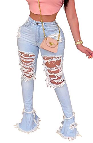 Women's Bell Bottom Jeans Destoryed Ripped Flare Jeans Elastic Waist Raw Hem Denim Pants (X-Large, 0077Light Blue)