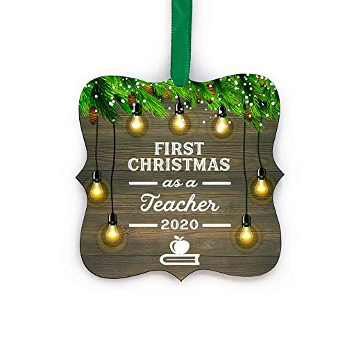 First Christmas As Teacher 2020 Ornament 1st Holiday Teaching Keepsake with Free Gift Box