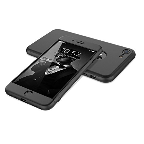 HopMore Coque iPhone 8 Rigide Anti Choc 360 degres Design 3 en 1 Étui Ultra Fine Mince Case Swag Mat Etui iPhone 8 Antichoc House de Protection - Noir
