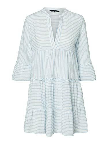 VERO MODA Damen VMHELI 3/4 Short Dress WVN GA Kleid, Snow White-Placid Blue, S