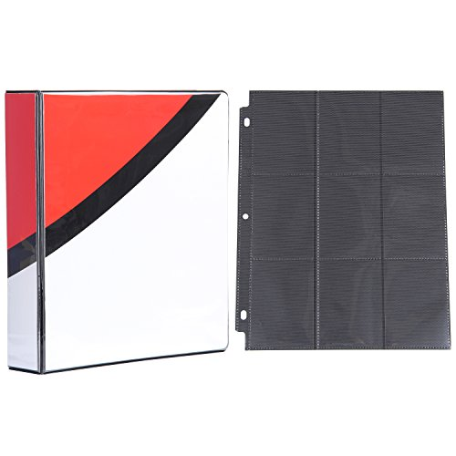Totem World 2-inch 3-Ring Binder with 25 Black 9-Pocket Side-Loading Pages for Pokemon Cards (Poke Ball Inspired)