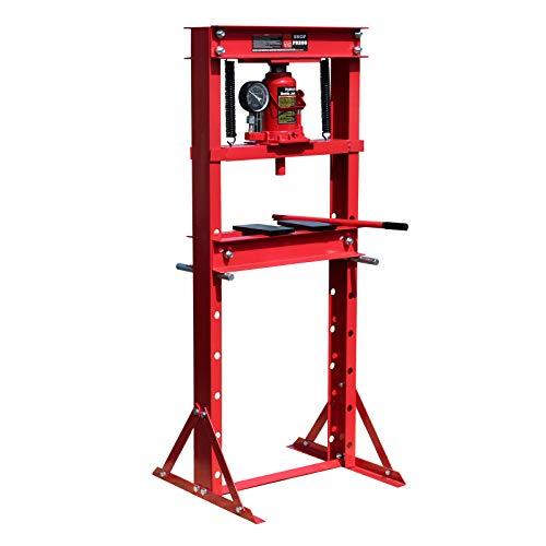 WilTec Presse d'Atelier hydraulique Manomètre intégré Force de Pression 12T Règlable en Hauteur Atelier