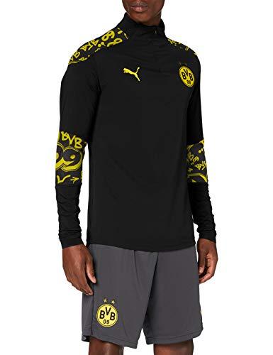 PUMA BVB Stadium 1/4 Zip Top Camiseta, Hombre, Black/Cyber Yellow/Away, S