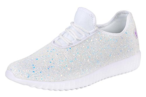 Forever Link Women's Remy-18 Glitter Fashion Sneakers,White,6.5