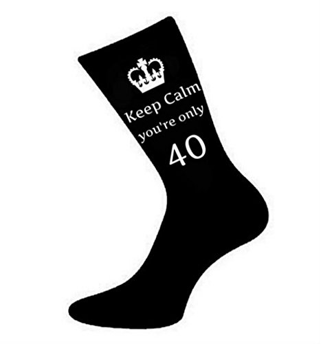 Oaktree Gifts Mens Keep Calm You're Only 40 Black Socks 40th Birthday, Black, US Size 6-13