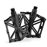 ZONSUSE Pedales de Bicicleta MTB, Pedal de Bicicleta para Caminante Antideslizante, aleación de Aluminio Duradero, Ultraligero Pedal de Bicicleta de montaña (Negro)