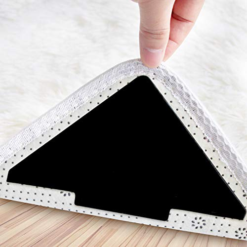 Rug Gripper, 10 Pcs Double Sided Anti Curling Non Slip Reusable Rug Pad, Washable Rug Tape for Hardwood Floors, Tile Floors, Carpets, Floor Mats, Wall (Black)