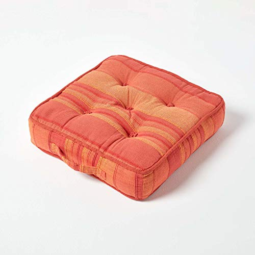 HOMESCAPES Morocco Striped 100% Cotton Floor Cushion Orange Terracotta 40 x 40 x 8 cm Square Indoor Garden Dining Chair Booster Seat Pad Cushion
