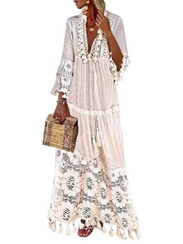 Onsoyours Vestido Largo para Mujer Vestido Encaje Floral Mangas 3/4 Vestido Playa Cuello En V Vestido Largo Fiesta Vintage Boho Vestido Z Blanco 40