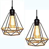 Lámpara Colgante Vintage,cuerda de cáñamo Retro Lámpara de Techo Colgante industrial, Lámpara de suspensión de jaula de hierro con forma de diamante Luces de techo,Luz colgante creativa (20CM-2)