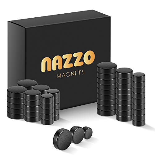 NAZZO Small Magnets, Rare Earth Magnets, Super Strong Neodymium Magnets for Building, Science, DIY, Refrigerator and Kitchen Cabinet, Round Button Magnet, 3 Sizes 60pcs, Black