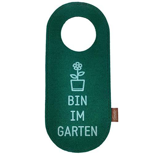 Filz Türschild Filzband Türhänger Wendeschild Klinkenschild Anhänger für Hoteltür Band Ring aus Filz Bin im Garten Hergestellt in Deutschland (1 Stück - grün)