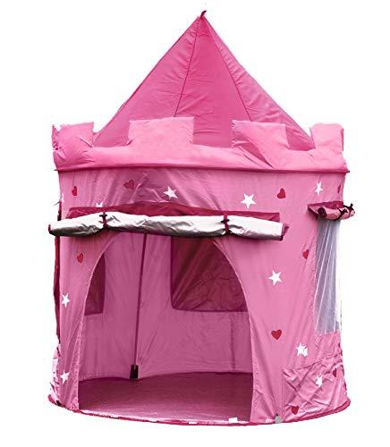 Kiddus Tienda Casa Carpa Campaña de Tela Lona para Niñ@s. Castillo Princesa, Pop UP Plegable para Jugar Juguete Infantil (Rosa)