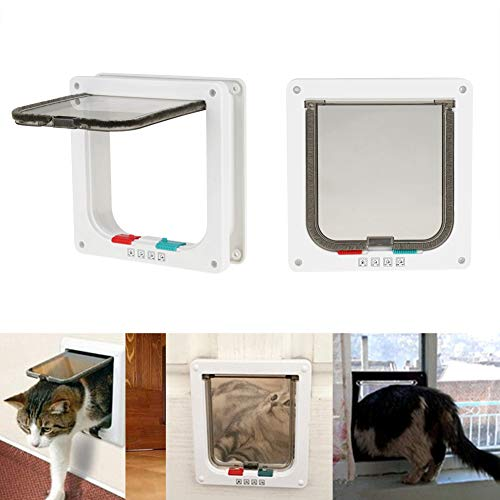 Smandy Katzenklappe Haustierklappe Abschließbare Klapptür Tunnel Hundetür Katzentür Haustüre für Katzen und kleine Hunde