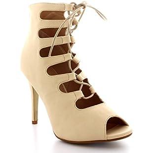 Womens Pumps Lace Up Shoes Peep Toe Party Stilettos Gladiator High Heels - Nude - UK5/EU38 - SK0062:Tudosobrediabetes