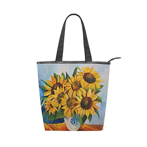 ISAOA Große Einkaufstasche aus Segeltuch, Sonnenblumen-Vase Kunst-Handtasche Strand Tote Bag für Mädchen Frauen