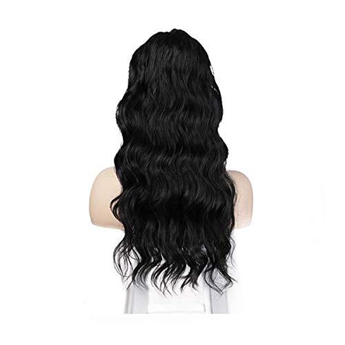 Hualieli Frauen Pferdeschwanz gewellte Perücke Afro Pferdeschwanz Haarteil Verlängerung synthetische Perücke schwarz für Frauen 24 Zoll