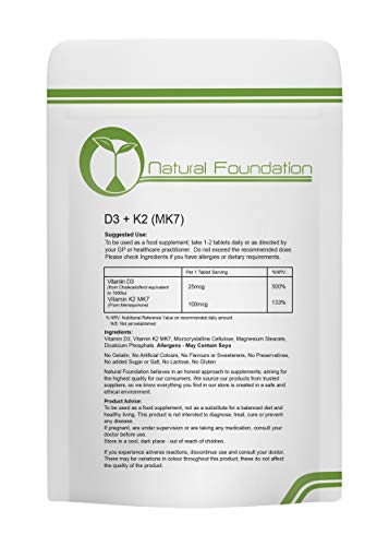 Vitamin D3 1000iu & K2 MK7 100mcg Tablets Supplements for Bone and Muscle Health | 240 Tablets 8 Month Supply | Natural Foundation Supplements