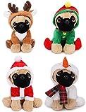 TOYLAND Pugs and Kisses 1 x 20cm Navidad Lindo Pug Dog Plush Soft Teddy, 1 Seleccionado al Azar!