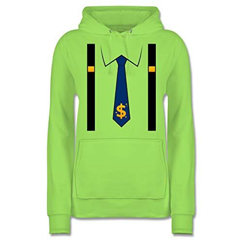 Karneval & Fasching - Anzug Kostüm mit Dollarzeichen Krawatte - S - Limonengrün - Fun - JH001F - Damen Hoodie und Kapuzenpullover für Frauen