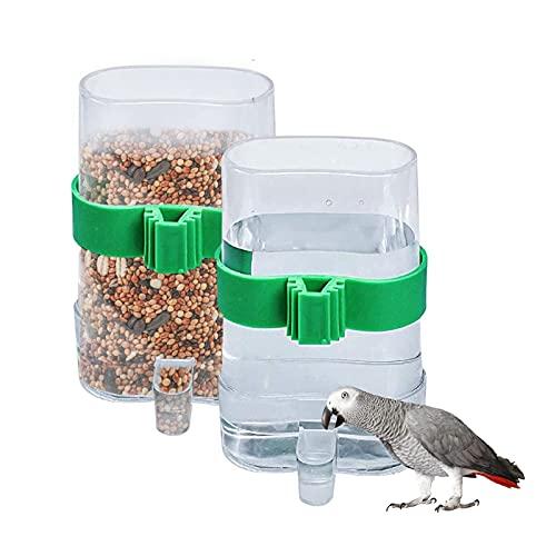2 Stücke Futterspender Vögel Automatischer Wasserspender Clip Futternapf Trinkflaschen für Vögel Wellensittiche, Nymphensittiche, Papageien (7,5 x 3,2 x 13,4cm)