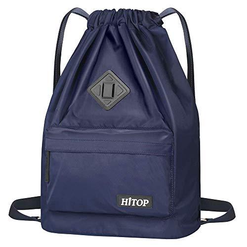Hitop Wasserdichte Sporttasche mit Kordelzug, leicht, Rucksack, für Herren und Damen, blau