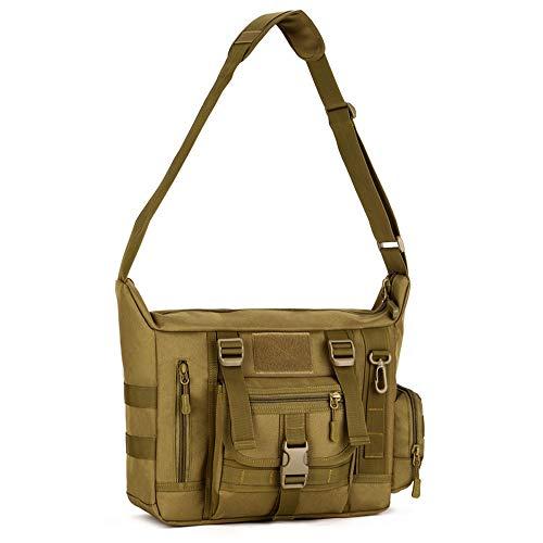 Messenger Bag, Tactical Crossbody Bag Molle Large Waterproof Laptop Pack Casual Military Shoulder Bag Green