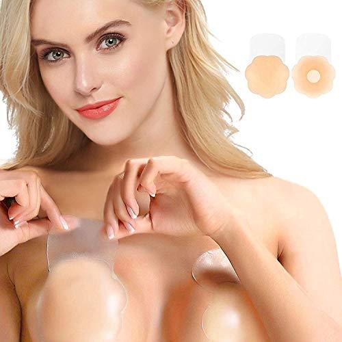 Brustwarzenaufkleber, wiederverwendbar, selbstklebend, trägerlos, unsichtbar, 1 Paar - Beige - Standard