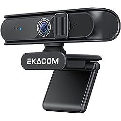 Webcam PC con Microfono, EKACOM 1080P HD Webcam per USB, Autofocus Web Streaming con Correzione Automatica del Colore e Copertura La Privacy, per Videochiamate e Registrazioni su YouTube/ Zoom/ Skype