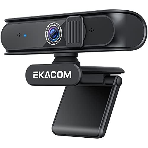 EKACOM Webcam 1080P Full HD con Microfono,Cámara Web con Cubierta de Privacidad,USB Web Camera PC Plug y Play para Video Chat y Grabación,Estudiar y Juegos,Compatible con Windows, Mac y Android