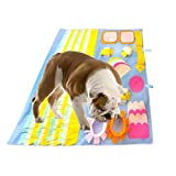 AIPINQI Dog Snuffle Mats Large, Funny Furable Pets Playing Mats Nose Work Trainning Pad Non Slip Stress Release Blanket for Dogs, 90x90cm Blue