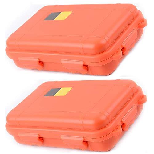 HunterBee 2 PCS al aire libre caja de almacenamiento a prueba de golpes caja protectora contenedor impermeable-naranja