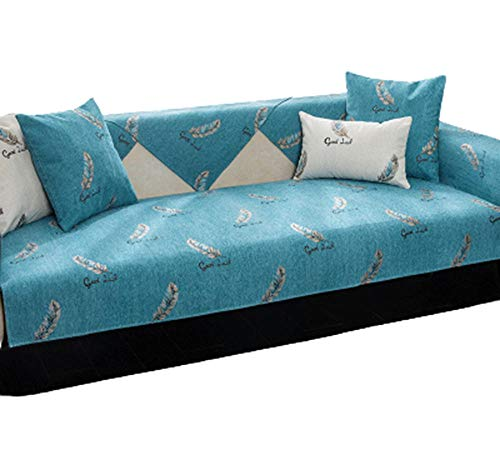 HXTSWGS Funda de sofá, Funda de sofá, Asiento Acolchado reclinable de Cuero en Forma de L, Respaldo de reposabrazos Cover-Blue_Pillow Cover 45 * 45